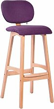 LYTSM® Amerikanischer Barhocker Massivholz Hoher Hocker Einfacher Barhocker Haushalt Barhocker Rückenlehne Front desk Stuhl 50 × 39 × 100cm stabil und langlebig (Farbe : Lila)
