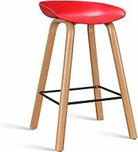 LYTSM® Einfache Rezeption Bar Stuhl Bar Hochstuhl Kreative Barhocker Haushalt Stilvolle Bar Stühle Loft stabil und langlebig (Farbe : Rot, größe : Kurz)