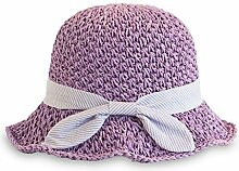LZ Home Womens Brim Caps Strand Urlaub Sonnenschutz Faltbarer Strohhut (Farbe : Purple and Pink)