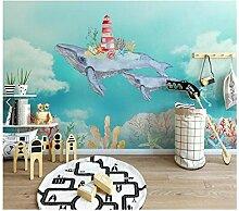 Lzlwsu Tapete Kinder Aquarell Meereswal Wandbilder