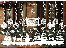lzn 1 Satz Weiße Weihnachtswandaufkleber