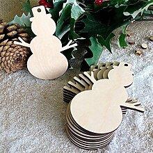 lzn 10Pcs Weihnachtsholz-Span-Baum-Verzierungen