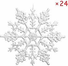 lzn 24 Stück Glitter Schneeflocke Weihnachten