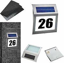 LZQ LED Solarhausnummer Edelstahl beleuchtet
