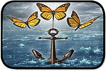 LZXO Plüsch Badteppich Ocean Anker Schmetterling