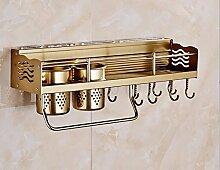 lzzfw Aluminium Kleiderbügel Herd Küche Regale Regale aus Punch zu schmecken Champagner Farbe Zubehör, 60 cm Schale