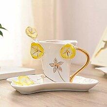LZZNB- 3 Sätze Email-Teetasse Kaffeetassen,