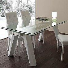 M-029 Esstisch, ausziehbar, aus Glas und Stahl,