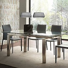 M-029 Tisch, ausziehbar, aus Glas und gebürstetem