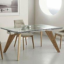 M-029 Velia Tisch aus Glas und Holz, ausziehbar
