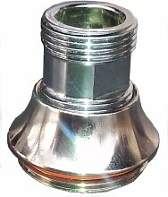 M 15 AG x M 22 AG chrom Gewinde Adapter M22 AG auf M15 Aussengewinde für Perlstrahler Gewinde am Wasserhahn, M22x1 x M15x1AG, oft bei 3-Wege-Hähnen für Filter oder Osmose Auslauf