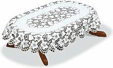 M-Decor elegante ovale Tischdecke, Blumenmuster,