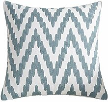M&F Embroidered Cushion Cover Blue Geometric Decor