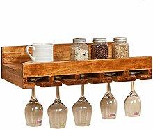 M-jiuju Wand-Weinregal aus Holz mit Weinglashalter