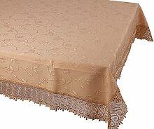 m.Lyra Elegante Tischdecke mit Bordüre wasserabweisend mit Lotus-Effekt beidseitig mit Teflon beschichtet - Karamell - (140 x 180 cm) (O527-5)