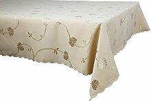 m.Lyra Elegante Tischdecke wasserabweisend mit Lotus-Effekt beidseitig mit Teflon beschichtet - Hellbraun - (140 x 200 cm) (O526-4)
