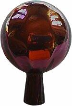 M Rosenkugel Lila Violett Rillenoptik Höhe 12cm; Durchmesser 9cm Rosenkugeln Gartenkugel Handarbeit stabieles Glas verspiegelt und wetterfest (Lila / Violett)