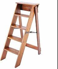 M-Y-S Leiter Massivholz 5 Stufen Leiter Faltbar