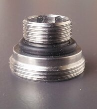 M14 AG x M22 AG, chrom, Gewinde Adapter M22 AG auf M14 Aussengewinde für Perlstrahler Gewinde am Wasserhahn, M22x1 x M14x1AG, oft bei 3-Wege-Hähnen für Filter oder Osmose Auslauf
