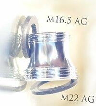 M16,5 AG x M22 AG, lang, chrom, Gewinde Adapter für Perlstrahler Gewinde am Wasserhahn, M22x16,5x1 Aussengewinde, oft bei KLUDI, CACHE HONEYCOMB TT