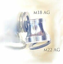 M18 AG x M22 AG, lang, chrom, Gewinde Adapter für Perlstrahler Gewinde am Wasserhahn, M22x18x1 Aussengewinde m18x1, passt auch für Ikea Ringskär Perlstrahler Gewinde - um dort ein M22 Sprudler oder Aquadea Wirbler anzubringen