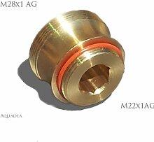 M22 AG x M28 AG, messing, Gewinde Adapter für Perlstrahler Gewinde am Wasserhahn. Badewannen Auslauf - M28x1 auf M22x1 - für Luftsprudler Gewinde um z.B. Aquadea Crystal-Wasser-Wirbler oder Übertischfilter SanUno o. Okato anzuschließen M 28