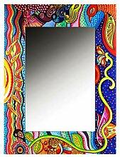 MAADES Spiegel Wandspiegel Tahiti 100cm groß bunt