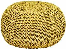 MAB Bequemer Sitzsack Strick.-Hocker Sitzhocker Gelb Anw/ärter auf das /Ökotex Zertifikat 55 cm Bodenkissen handgekn/üpft Sitzpouf f/ür modernes Wohnen