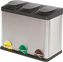 MACO Import Mülleimer Mülltrennsystem 45 Liter mit Inneneimer große Abfallbehälter Treteimer Edelstahl