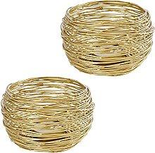 MACOSA VM1255x2 Teelichthalter 2er Set Gold Metall