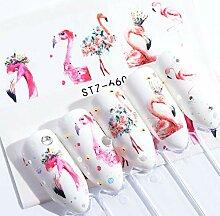Macxy - 5pcs Flamingo-Nagel-Aufkleber Abziehbilder