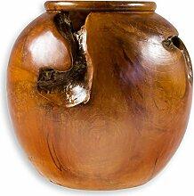 maDDma Deko Teak Vase Holz Übertopf Blumentopf
