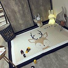 Madedress 100% Baumwolle Teppich Kinderteppich Spielteppich Baby Laufteppich Kinderzimmer Schlafzimmer Wohnzimmer Boden Kinder Geschenk Steppen Weich Spiel Teppich (Hirsch, 145*195cm)