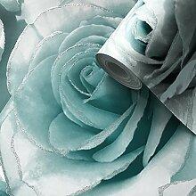 Madison Glitter Blumen-Tapete mit funkelnden Rosenblüten aus Profilschaum-Vinyl von Muriva Aqua - 139523