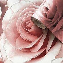 Madison Glitter Blumen-Tapete mit funkelnden Rosenblüten aus Profilschaum-Vinyl von Muriva Raspberry - 139521