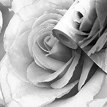 Madison Glitter Blumen-Tapete mit funkelnden Rosenblüten aus Profilschaum-Vinyl von Muriva Silver - 139520