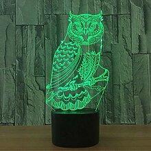 Mächtige Eule 7 Farbe Lampe 3D Visuelle