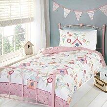 Mädchen Bettwäsche Set mit Vogelhäuschen Design