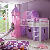 Mädchen-Etagenbett mit rosa-lila Textilien Buche