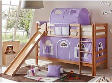 Mädchen Etagenbett mit Rutsche und Vorhang in