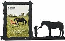 Mädchen Füttern Pferd 3x 5Vertikal