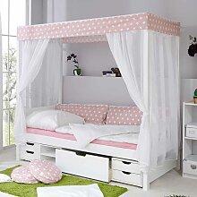 Mädchen Himmelbett mit Schubladen Weiß Rosa