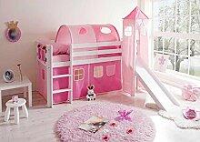 Mädchen Hochbett weiß rosa massiv Pinky Pharao24
