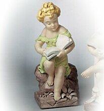 Mädchen mit Buch Dekofigur Gartenskulptur (handbemalt) aus Betonwerkstein Gartenfigur Steinfiguren Garten-Statue Steinguss