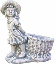 Mädchen mit Pflanzkorb, Skulptur aus Steinguss, Figur