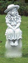 Mädchen mit Schleife, Steinfigur, Gartenfigur Farbe weissgrau