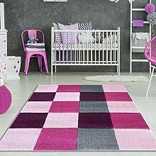 Mädchen Teppich Karo Pink Rosa Größe 160 x 230cm