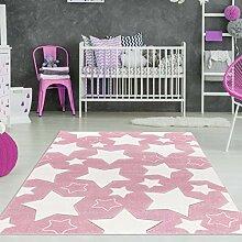 Mädchen Teppich Sterne Rosa Weiß Größe 160 x