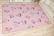 Mädchen-Traum Kinderteppich Arielle nach Maß - Spielteppich versandkostenfrei schadstoffgeprüft pflegeleicht antistatisch schmutzabweisend robust strapazierfähig Kinderzimmer Spielzimmer rosa , Farbe:Pink, Größe:80 x 160 cm