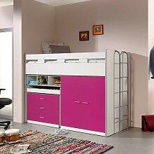 Mädchenbett mit Schreibtisch und Schrank Pink und